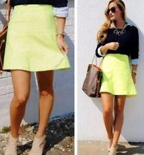 J CREW Sz 12 Neon Yellow Skirt Geometric Pattern Style C6744 Exposed Zipper NEW