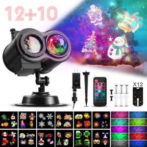 Christmas LED Laser 2 Projector Lights Waterproof Xmas Landscape Lamp+ 12 Slides