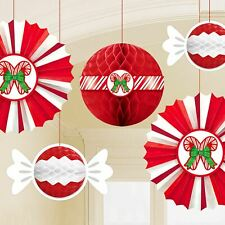 5 Peppermint Candy Cane Honeycomb Fan Christmas Party Hanging Decorations Xmas