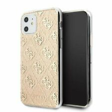 Genuine Guess 4G Silicone Gold Glitter Transparent Case for iPhone 11