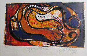 "LYNN KEATING AUSTRALIAN INK COLOUR LINOCUT ""ORGANIC NUDE"" LTD ED A/P 1997 A"