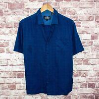 Nat Nast Men's Silk Cotton Short Sleeve Button up Shirt Blue Geo Print Sz M