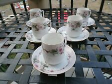 Antique SILESIA 5 DEMI CUP & SAUCER SETS Set Pink Roses Gold Trim  CA 1900-1920