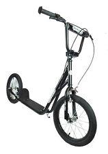 "Brand New 1080 Adults Teens 16"" Pneumatic Wheel Push Kick BMX Scooter Black"