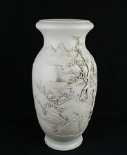 China antique Blanc de Chine vase signed handcrafted landscape human character