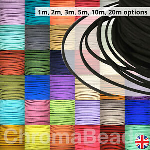 Faux Suede leather Cord - flat, 3mm wide, 1m, 2m, 3m, 5m, 10m, 20 metre lengths