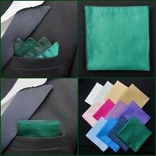 Mens Bottle Green Pocket Square Faux Silk Handkerchief / Hankie / Kerchief