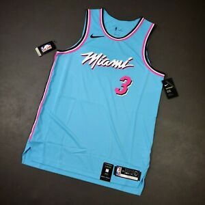 100% Authentic Dwyane Wade Nike Miami Heat ViceWave Jersey Size 48 L Mens