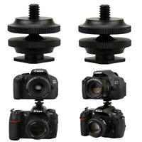 """2PCS 1/4""""-20 Tripod Screw to Flash Hot Shoe Mount Adapter for DSLR Cameras"""
