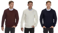 URBAN REVIVAL Mens Crew Neck Cable Knit Jumper New Pullover Knitted Sweater Top