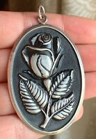 Vtg Sterling Silver Rose Pendant Large Oval Black Enamel International Repousse