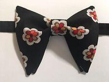 Handmade Black Floral Bow tie Vintage style 70`s Bowtie Pre-tied Adjustable