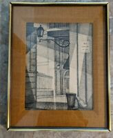 Vintage Print Puerto Rico No Parking MCM Burlap Drawing Art Framed Street Scene