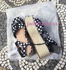 Plataforma Zapatos Zara Lunares Negro 5 38 Blanco Nuevo BNWT