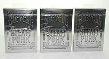 Bicycle Steam Punk Silver Playing Cards 3 Decks United States Playing Card Co.