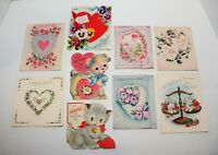 Vintage 50's 60's Valentine's Day Folded Card Lot of 9, MOTHER Designs Ephemera
