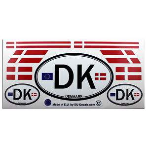 Set of 9 Denmark flags & letters DK car country sign Laminated Decals Stickers