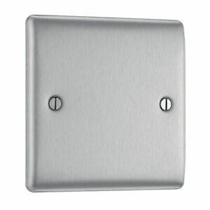BG Nexus NBS94 Brushed Steel / Satin Chrome Single 1 Gang Blank Plate