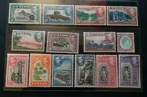 CEYLON 1938 KG VI 2c to R5 SG 366 - 397a Sc 278 - 289 pictorial set 14 MNH