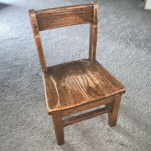 Vintage Child's School Chair Wood Oak Library 19 back H x 9 1/2 seat H x 10 deep