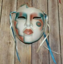Vintage Ceramic Face Mask Wall Decor by About Face Clay Arts Pink & Blue