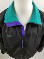 VTG Columbia Mens L Black Purple Green 90s Fleece Lined Zip Up Jacket Coat