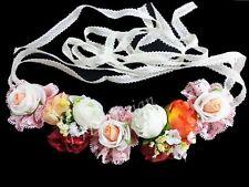 #A3 - FLOWER GARLAND Beach Hat Cloth Head Deco Wedding Belt Floral Rose Girlande