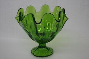 Vintage Handmade E.L. Smith, 1960's Ruffled Genuine Art Glass Bowl Deep Green