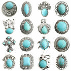 New Vintage Tibetan Silver Tone Carved Turquoise Adjustable Charm Ring Jewelry