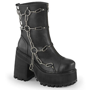 Demonia ASSAULT-66 Black Women's Chunky Platform Front Zip Ankle Boots w/ Chain