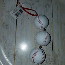 Seasons of Cannon Falls baseball theme ornament 3 dangling baseballs 7""