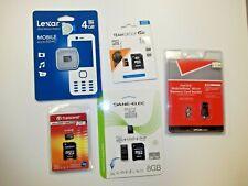 lot of 4 NEW micro SD memory cards 4GB 8GB 16GB Lexar transcend dane-elec reader