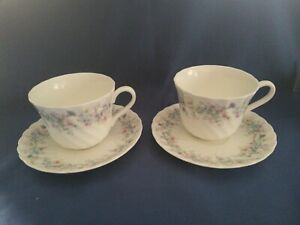 2 Wedgwood - Angela  -fluted  tea  cups and saucers