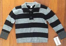 New Hartstrings Boys Grey & Black Striped Cotton  Pullover Shirt Sweater sz 4