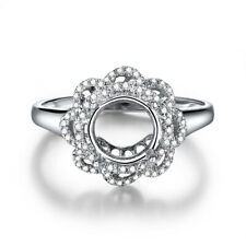 Solid 18K White Gold Round 7mm to 8mm Real SI/H Diamond Semi Mount Flower Ring