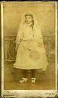 STAINIER ANVERS Belgique portrait communiante fashion mode CDV photo circa 1880
