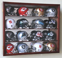 16 Riddell Mini Helmet Helmets Display Case Cabinet Wall Rack NFL Football