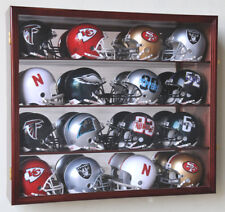 16 Riddell Mini Helmet Helmets Display Case Cabinet Wall Rack NFL Football