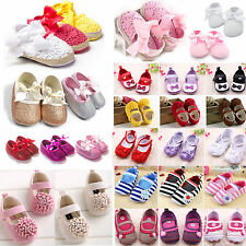 Newborn Baby Girls Non-slip Sneakers Bow Princess Crib Shoes Soft Sole Prewalker