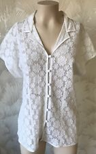 VINTAGE SIZE 14 1990's WHITE LACE BLOUSE SHIRT CAPPED SLEEVES MARKS & SPENCERS
