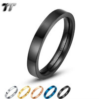 TT 3mm Plain Flat Mirror Polished Stainless Steel Wedding Band Ring (R117)