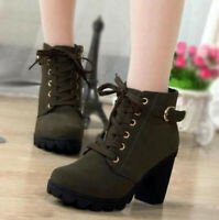 Women's Chunky High Block Heel Boots Ladies Wedge Lace Up Platform Ankle Shoes