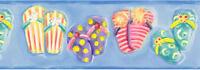 Kids Colorful Flip Flops on Ocean Blue Sure Strip Wallpaper Border RU8266B