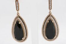Special Turkish Jewelry Long Drop Black Onyx Topaz 925 Sterling Silver EarRings