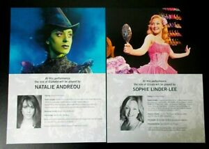 Natalie Andreou & Sophie Linder-Lee A4 standby cast inserts Wicked The Musical