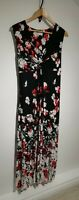 Per Una M&S Uk 20 Plus Size Black & Red Floral Poppies Maxi Dress Sleeveless