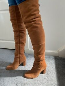 TOPSHOP Tan Suede OVER KNEE Thigh Boots * 4 uk * New!