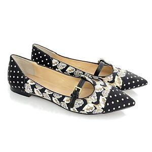 TORY BURCH Flats 8.5 Floral Sloane Fabric Silk Polka dot Cap Toe Mary Jane Shoe