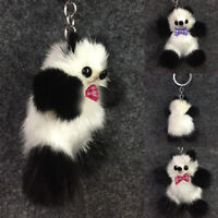 Cute Lady Stylish Mink Fur Furry Charm Panda Car Keychain Keyring Bag Pendant