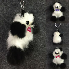 Women's Lady Panda Keyrings Mink Fur Furry Cute Car Keychain Bag Pendant Holder